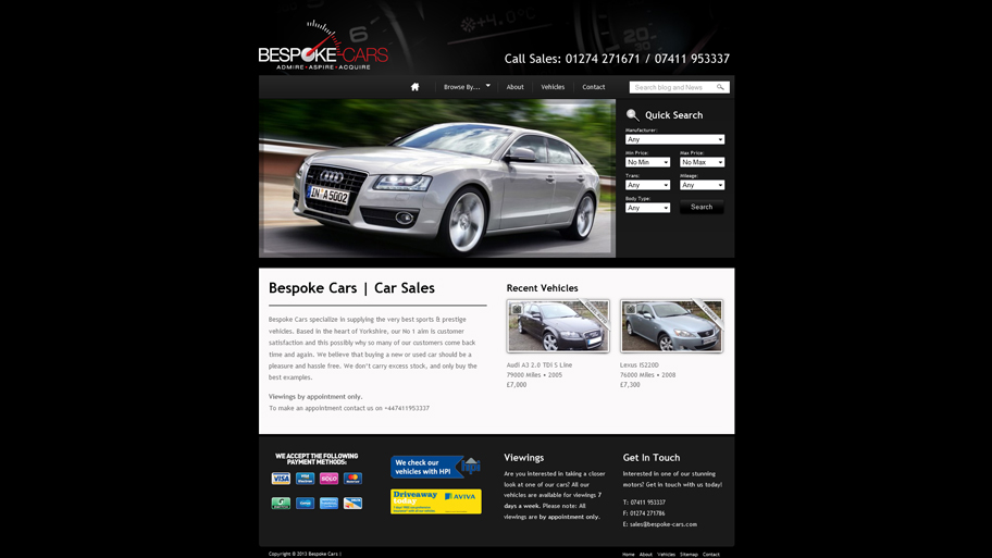 Bespoke Cars Web Design